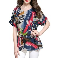 YSMARKET Fashion Print Women Summer Cotton Linen Shirts Tops V-Neck Loose Bohemian Style Ladies Blouses Plus Size L-4XL EHY5801