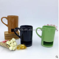 Personalized Cookies Milk Coffee Cup Ceramic Mug Dunk Mug with Biscuit Pocket Holder