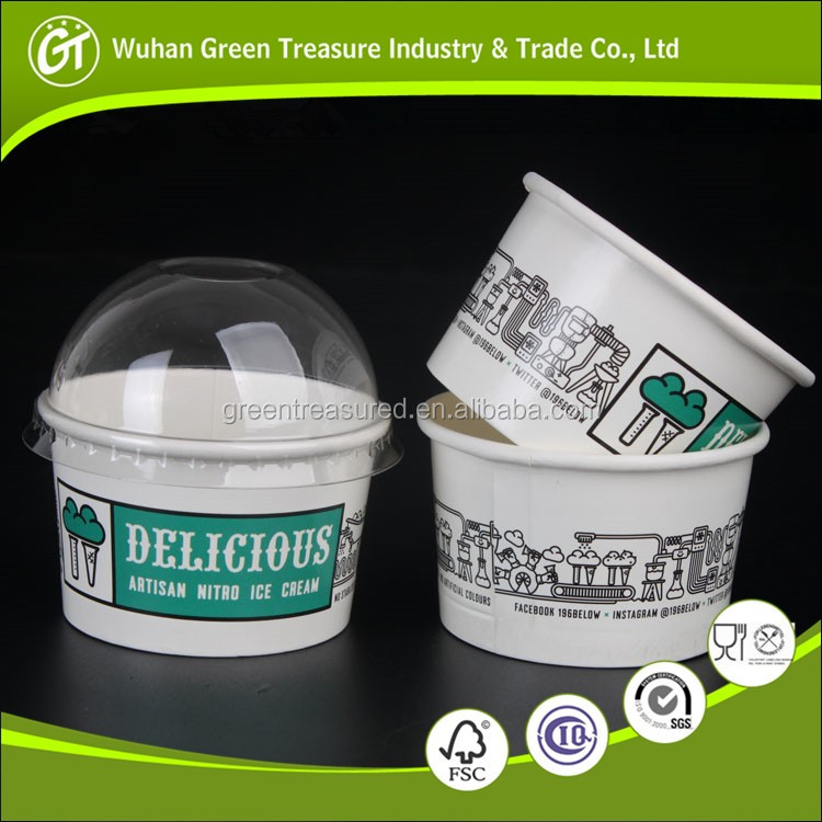 Disposable frozen dessert Ice cream paper bowl paper cups and bowl with clear plastic lids