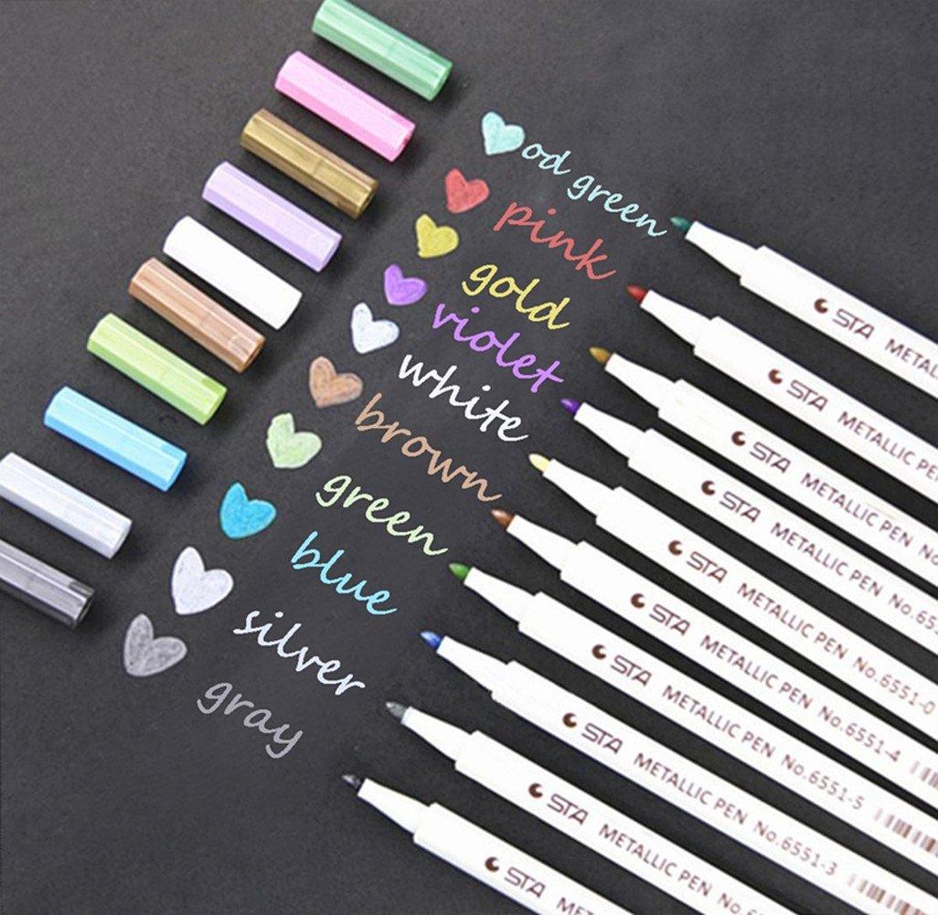 Metallic Marker Pens Metallic Colored Gel Pens Highlighters Paint Marker for DIY Arts Photo Album Crafts Set of 10