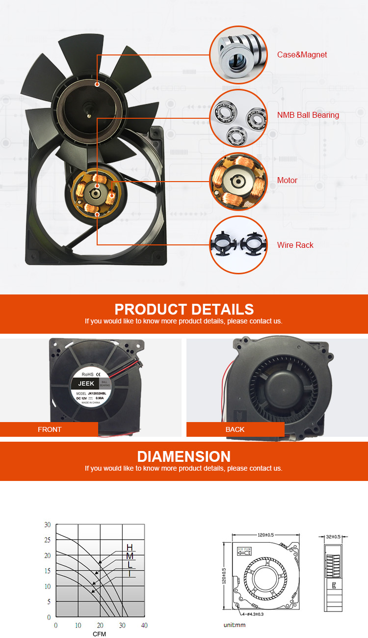 Jeek DC 12V  sleeve bearing  brushless  pc 120mm cooling fan