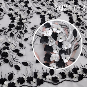 new york wholesale fabric lace black and white nigerian fabrics with beads applique