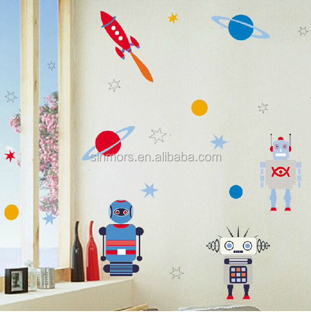 Sinmors Outer Space Wall Decor Stickers,adhesive Kids Wall Decals,robots  Cartoon Kids Stickers Part 43