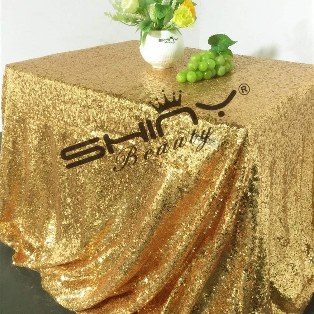 ShinyBeauty 90x132-Inch-Sequin Tablecloth-Rectangular-Gold,6FT Table Dropping to Floor Wedding Table Linen/Cloth