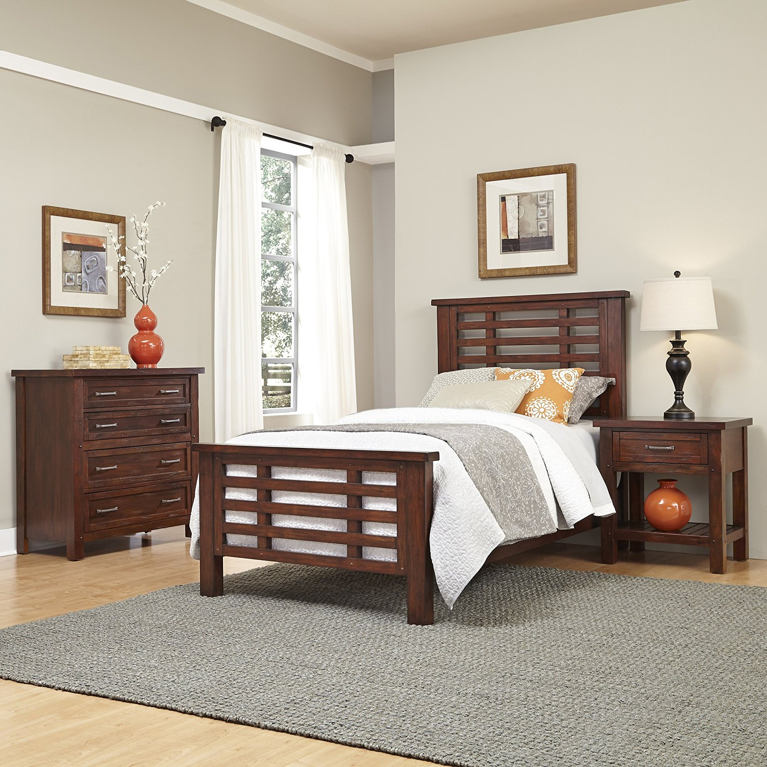 Home Styles 5410-4021 Cabin Creek Chestnut Finish Bed, Night Stand & Chest, Twin