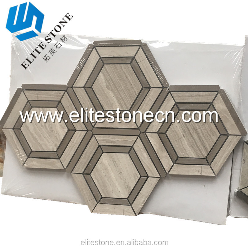 Hot sale New Hexagon Wooden Grey marble mosaic tile