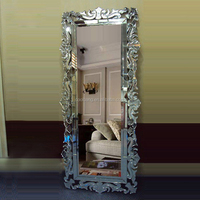 Large standing rectangle venetian mirror with classic glass