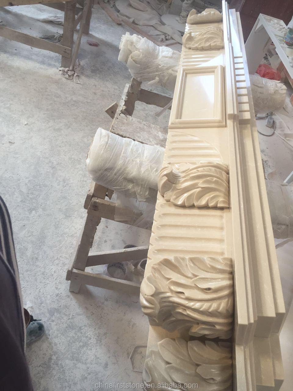 MFI122 beyaz mermer taş lüks Modern dekoratif elektrikli şömine