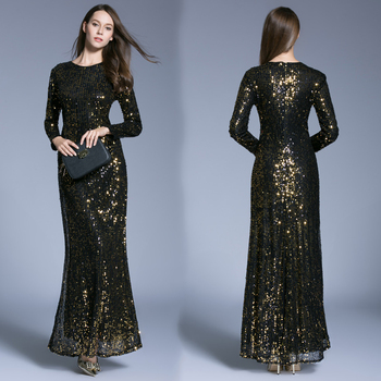 Fashion High Neck Long Sleeve Black Sequined Muslim Evening Gowns