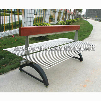 Stainless Steel Garden Bench Seat With Cast Iron Ends