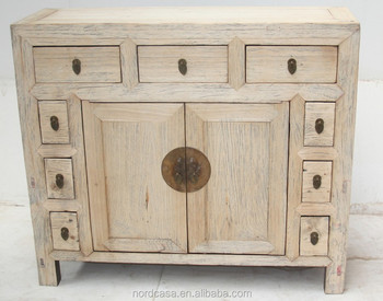 Chinese Antique Reproduction Furniture 9 Drawer 2 Door Natural Rustic Kitchen Cabinet
