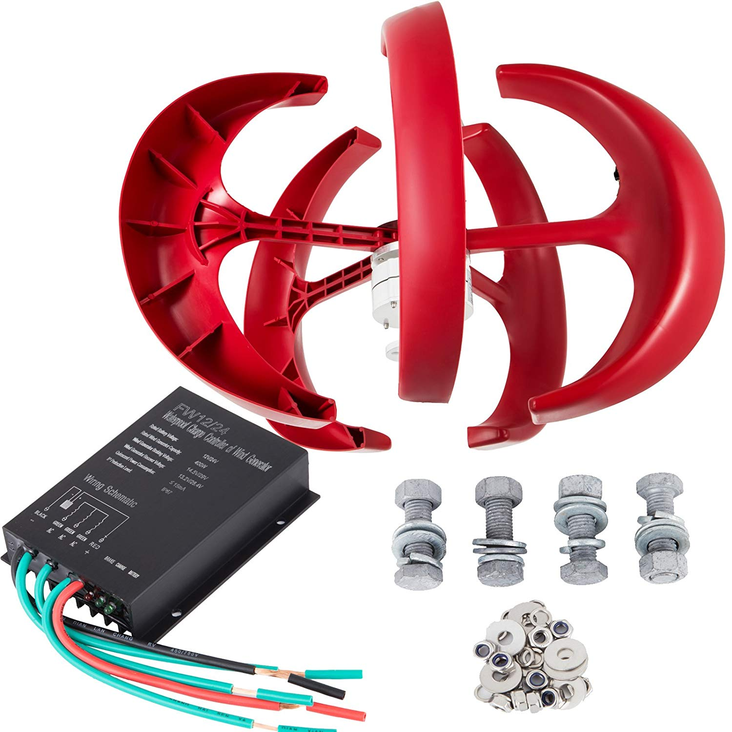 Cheap Generator For Vertical Wind Turbine Find Home Wiring Basics Get Quotations Lovshare 400w Dc 12v Kit 5pcs Blades Power Red