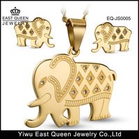 Stainless Steel Elephant Pendant Necklace Earring Jewelry Sets