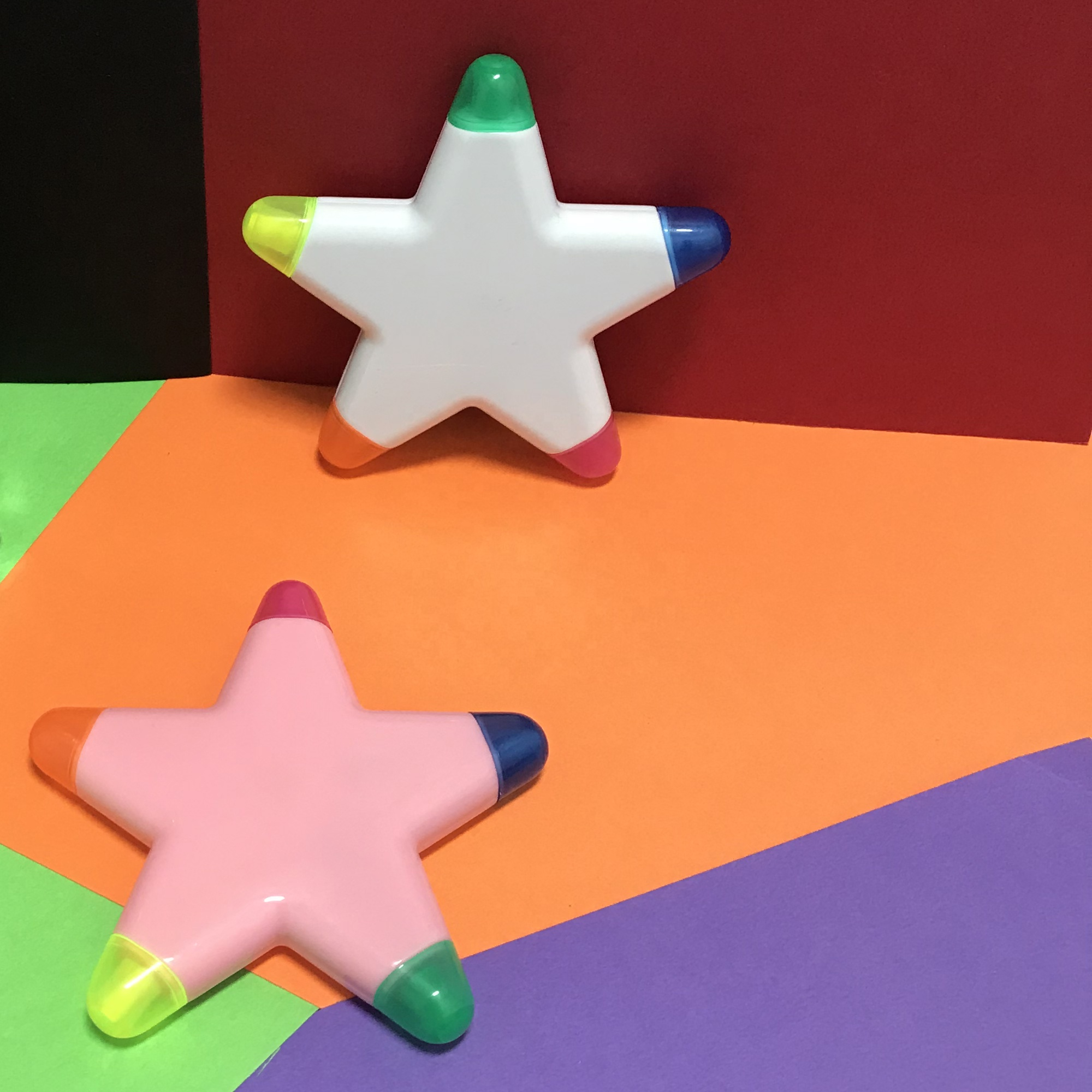 advertising promotion customized logo fancy star shape highlighter pen