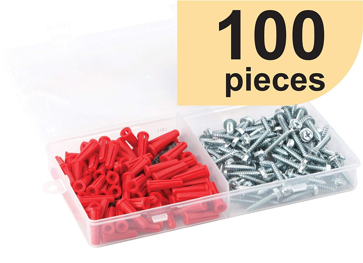 Wall Anchor Kit (Screws, Anchors and Drill Bit) (10 x 1 Hex/Phillips (100 Ct), Conical Anchor)