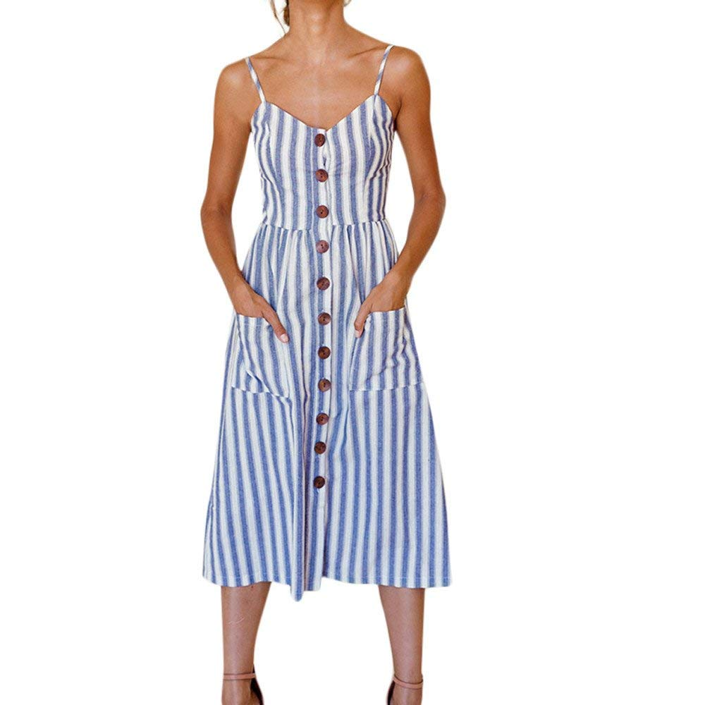 67942f877c Get Quotations · POTO Women's Summer Dress, Fashion Holiday Striped Ladies  Beach Button Down Swing Party Dress Midi