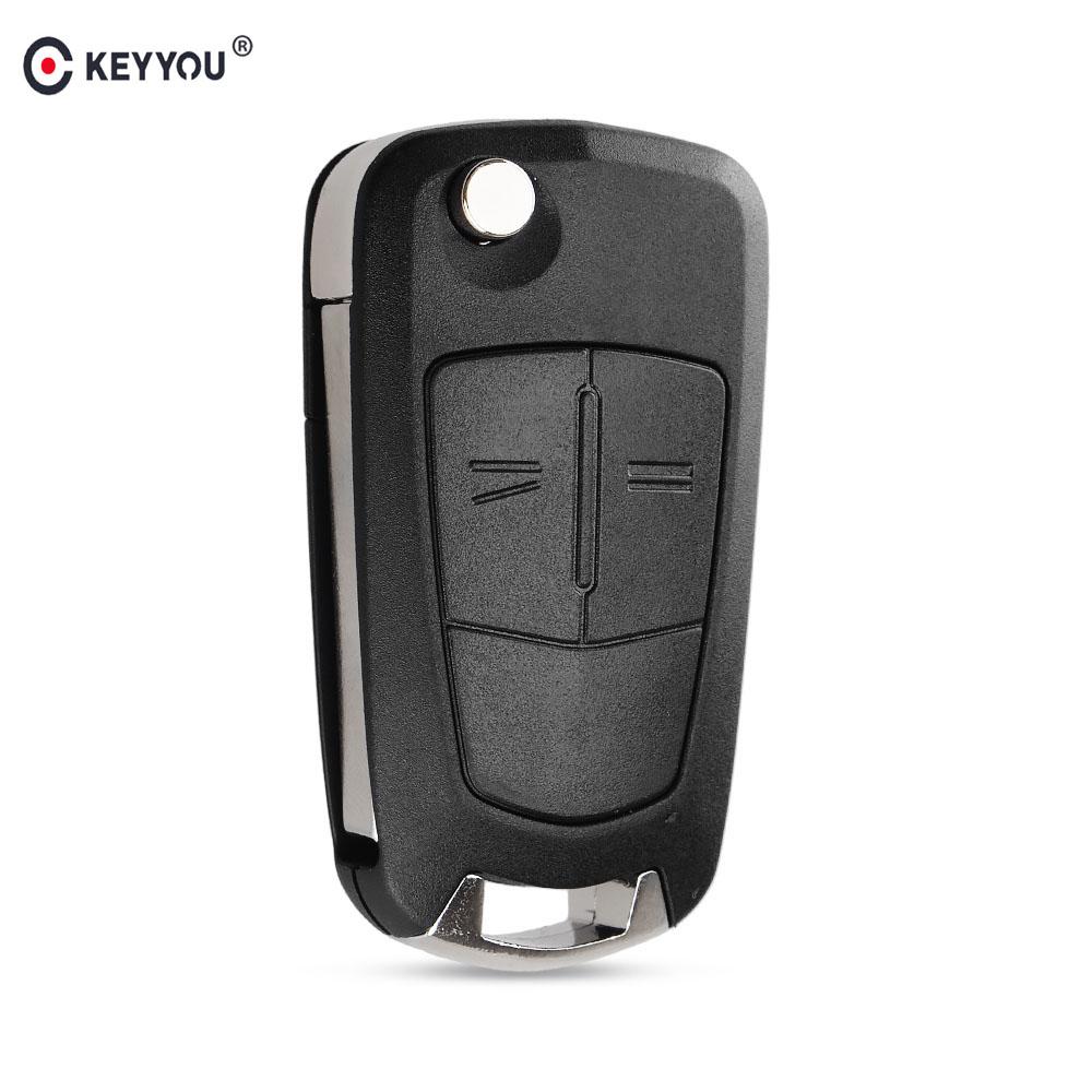 KEYYOU 2 ปุ่มพลิกพับกุญแจรถ Fob กรณี Shell จัดแต่งทรงผมสำหรับ Vauxhall Opel Corsa Astra Vectra signum