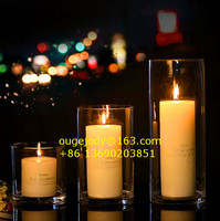 Clear round glass cylinder candle holder