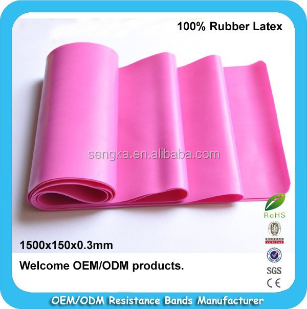 RB-001 Hot sales 5feet long rubber latex flat bands for exercise