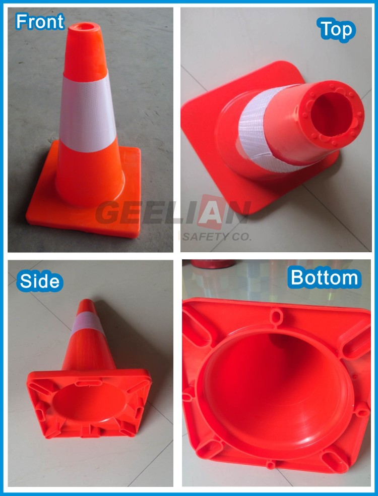 White Hat Marker Reflective Traffic PVC Flexible Cones