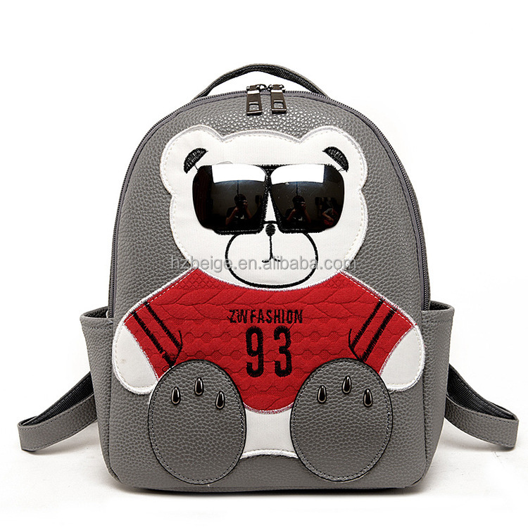 2016 new PU design hobo bags kawaii bear with sunglasses school bags K-pop backpack bags for teens