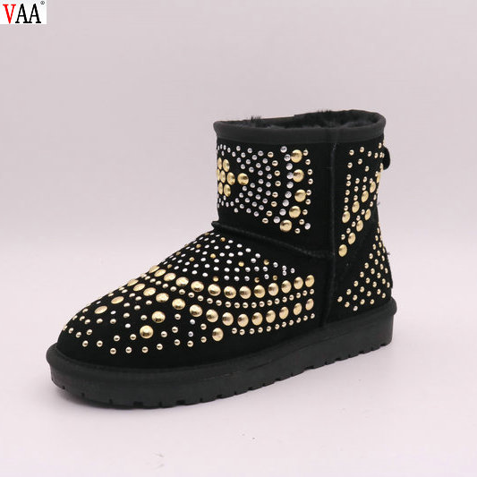 Top Selling Winter Factory Cow Suede New Fashion China Wholesale Shiny Gold And Silver Sequins Women Snow Boots Shoes JLX-CF-435