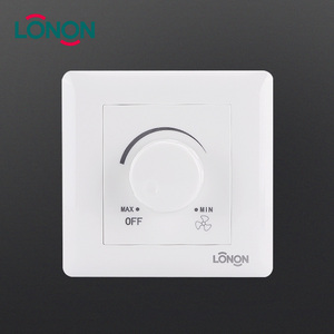Free Sample White PC Metal 1 Gang 300w Fan Speed Controller dimmer Wall Switch