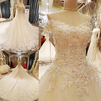 Ls80275 cap sleeves wedding dress rhinestone appliques for Wedding dresses with pearls and diamonds