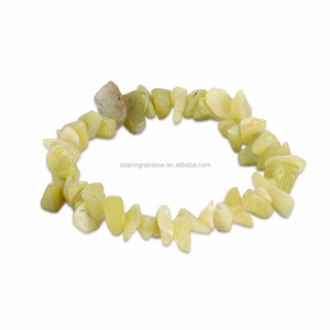 High quality Crystal beaded stretch semi precious lemon yellow stone gemstone chips bracelet