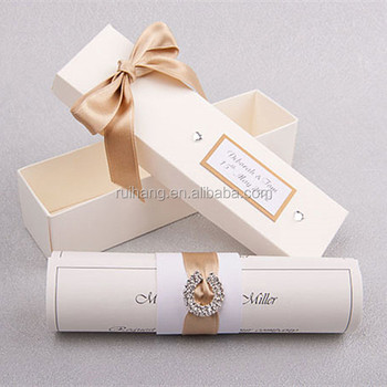 glamorous handmade white scroll wedding invitation card with