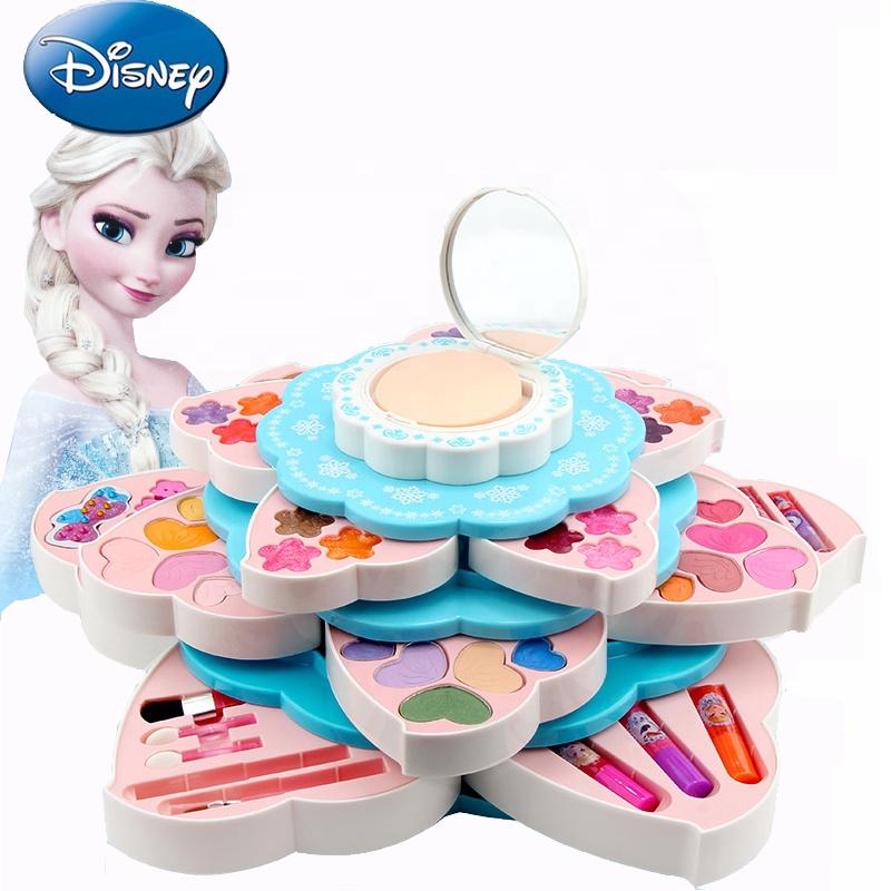 Disney Frozen cute blooming flower cosmetic toys make up set Light up mirror makeup set kor kids