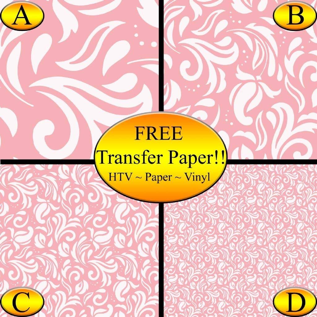 Pink Paisley Pattern Printed Heat Transfer Vinyl - Vinyl Sheets, Printed Vinyl (Style B - 12 x 12)