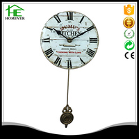 design white vintage larger glass wall clock for living room