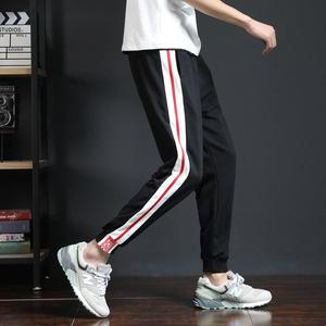 QF225 2018 Men's Casual Trousers Men's Sports Casual Knit Pants Cotton Contrast Printed Pants