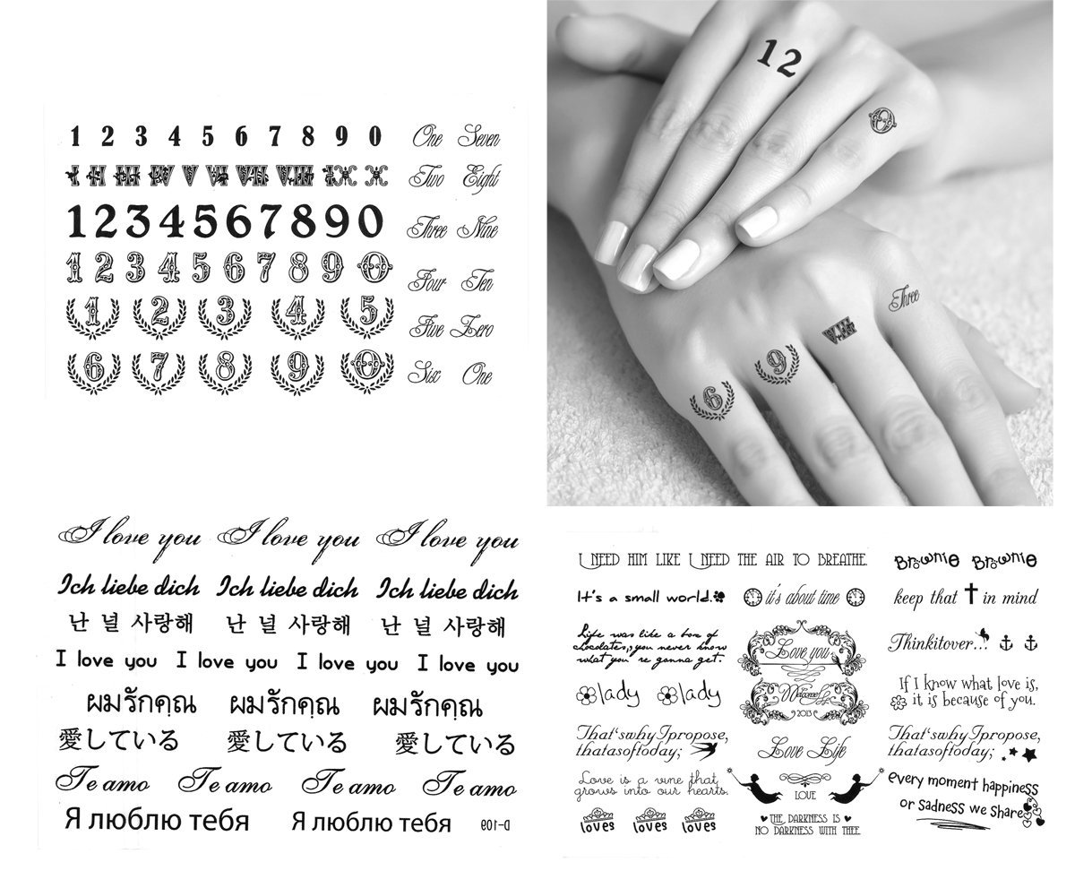 1047185ee916f Get Quotations · 3-sheets Black & White Tiny Small Temporary Tattoos Finger,  Shoulder Neck, Arm