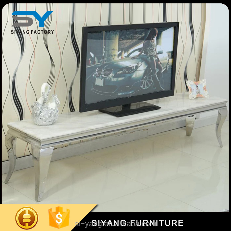 2017 four legs black marble top stainless Steel TV stand for sale DS002