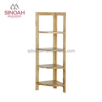 Solid Oak Corner Wall Shelf Unit Wooden Rack