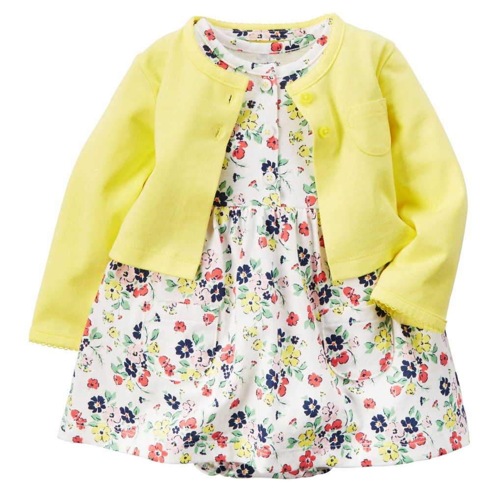 2 Pieces Toddler Girls Dress Romper Dress Set Floral Dresses Bebes Girls Ropa фото