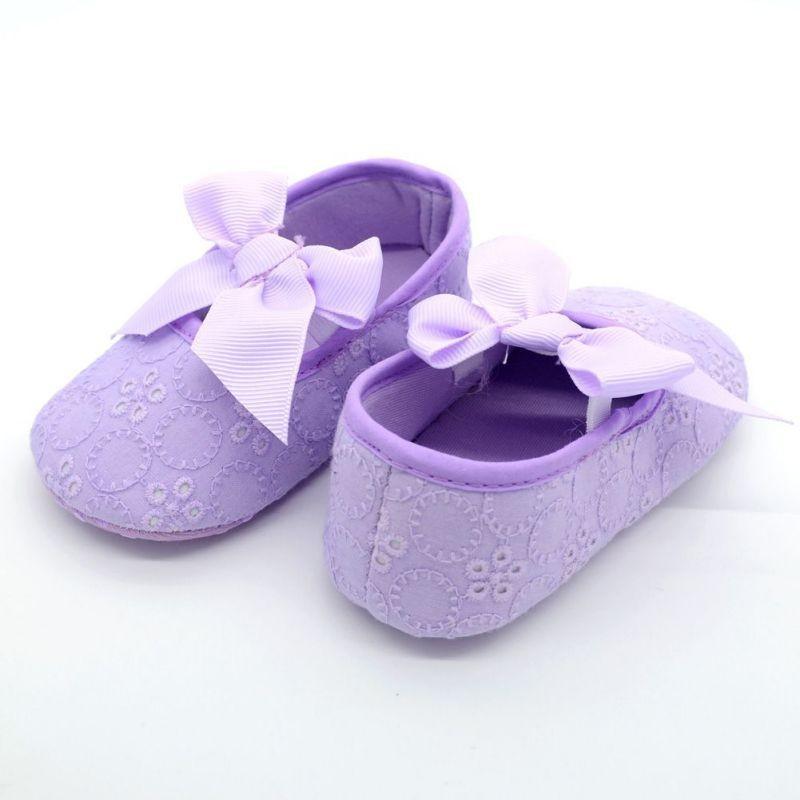db123123White Bowknot ילדה תחרה פעוט נעלי Prewalker אנטי להחליק נעל תינוק פשוט נעל חינם &זרוק משלוח