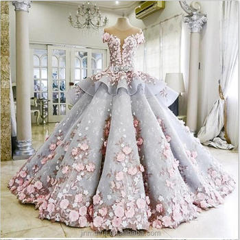 Fashion Sheer O-neck Ball Gown Wedding Dresses With Flower Appliques ...