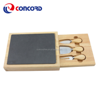 Hot Selling Good Quality slate cheese board set of 3 pcs cheese knife inside drawer for Home Kitchen Warming Gift