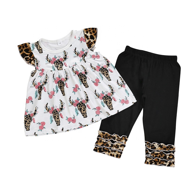 Ready To Ship Kids Boutique Cow Clothing Set Pants And Tops 2PC Outfits With Lace Outfits, As pic
