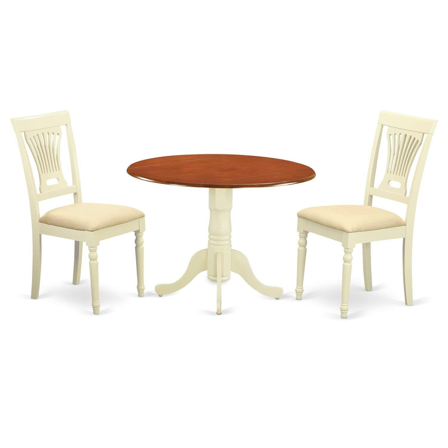 East West Furniture DLPL3-BMK-C 3 Piece Dining Table and 2 Wooden Kitchen Chairs Dublin Set, Buttermilk/Cherry Finish
