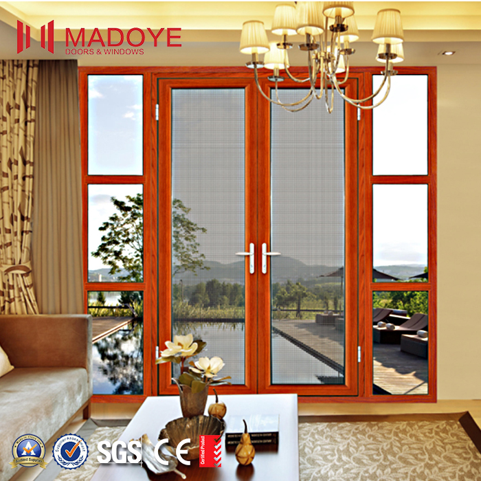 Double mosquito mesh fly screen aluminum casement door for patio/balcony