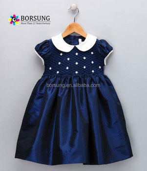 2f192d70f Baby Hand Smocked Peter Pan Collar Short puff Sleeve navy blue Dress Party  Dress for kids