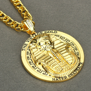 Mens cool hip hop gold round pharaoh medallion pendant necklace mens cool hip hop gold round pharaoh medallion pendant necklace mozeypictures Gallery