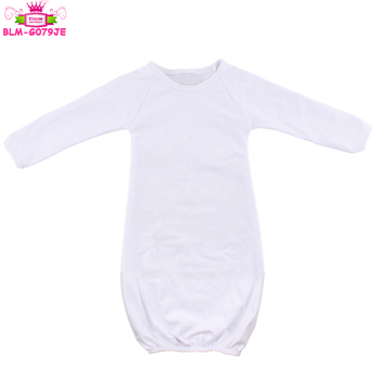 Newborn Baby Sleeper Gown Coming Home Outfit Gender Neutral Solid White Boy Girl Raglan Gown
