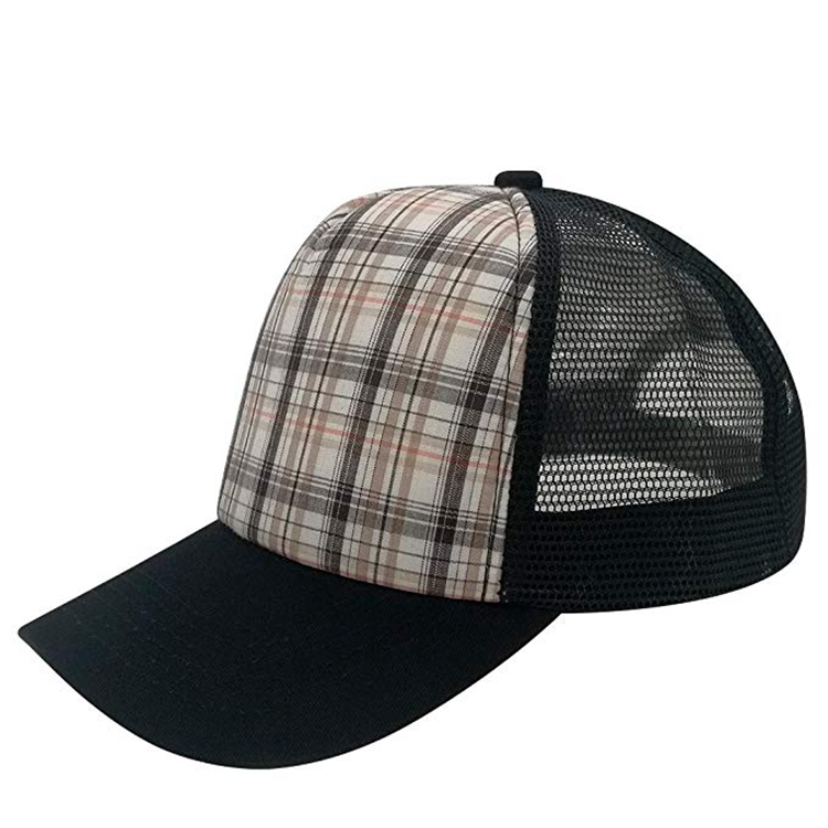 Wholesale Custom Logo Curved Visor Red Gingham Checked Plaid Trucker Cap Hat 38370d1f4d3
