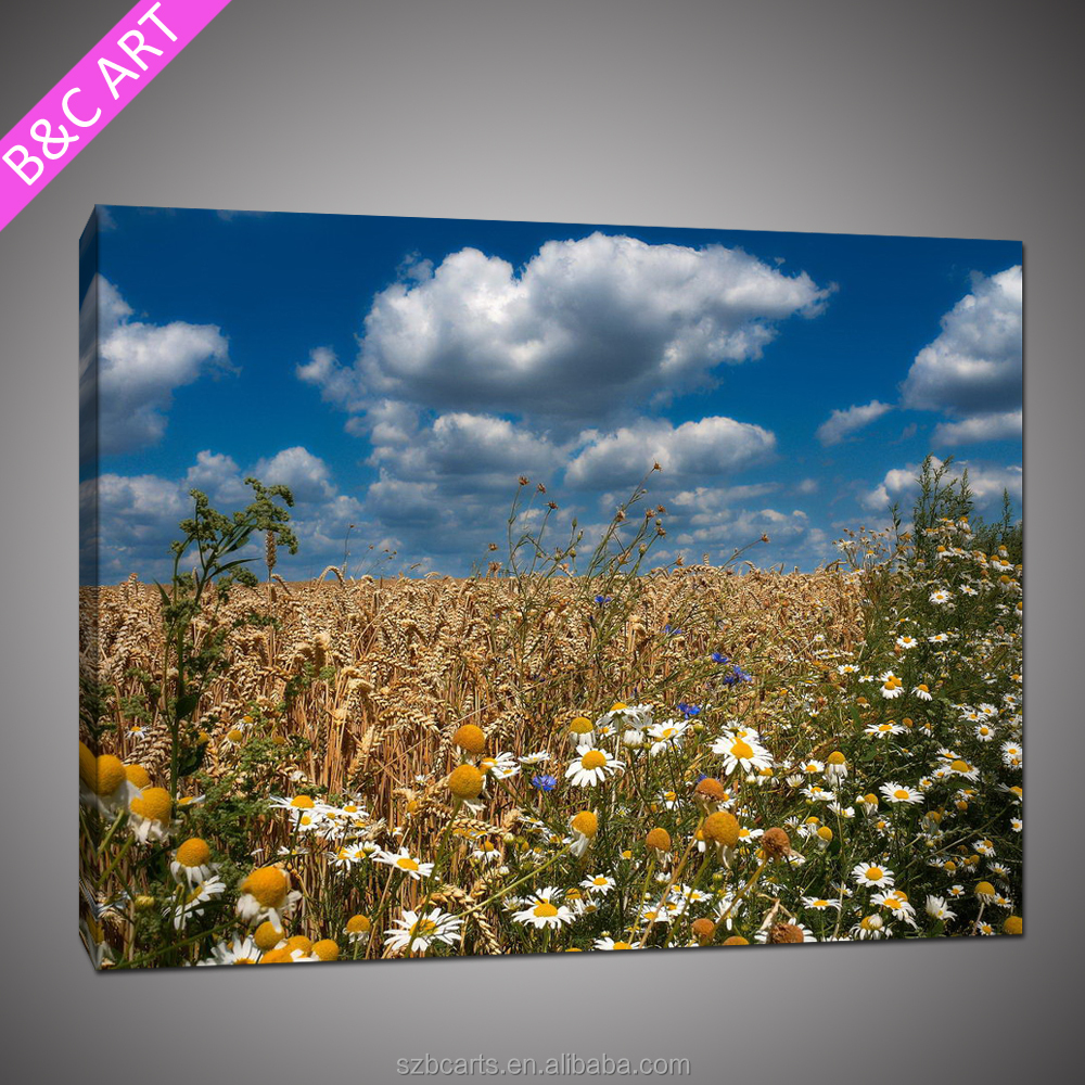 beautiful yellow field natural scenery canvas art painting images of handmade wall hanging