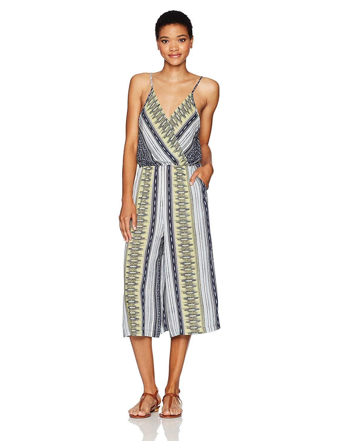 81b9fe8c12d8 Get Quotations · BCBGeneration Women s Printed Surplice Culotte Jumpsuit